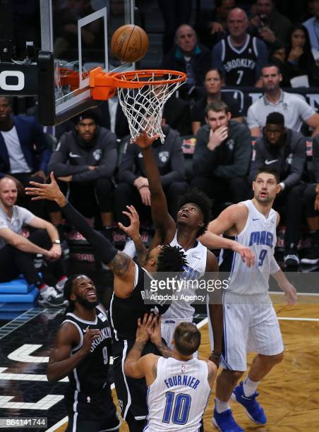Angelo Russell of Brooklyn Nets in action against Evan Fournier of Orlando Magic during NBA basketball match between Brooklyn Nets and Orlando Magic...