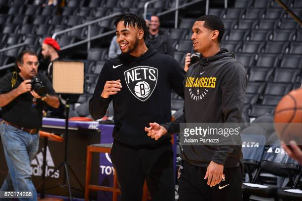 Angelo Russell of the Brooklyn Nets and Jordan Clarkson of the Los Angeles Lakers react prior to the game between the two teams on November 3 2017 at...