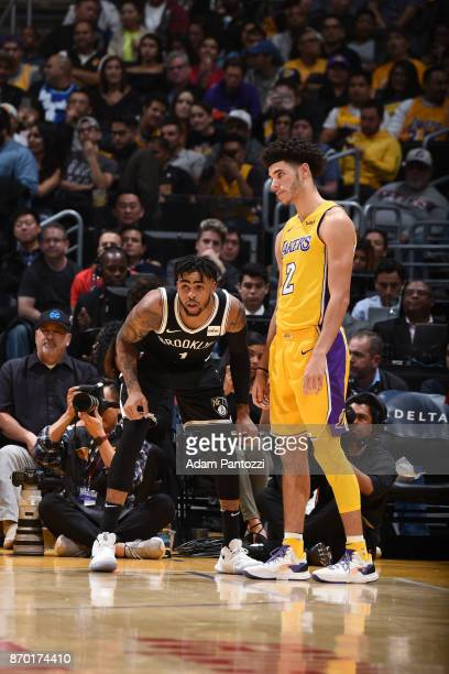 Angelo Russell of the Brooklyn Nets and Lonzo Ball of the Los Angeles Lakers react during the game between the two teams on November 3 2017 at...