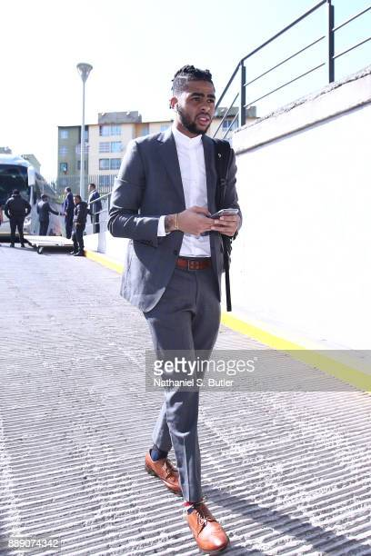 Angelo Russell of the Brooklyn Nets arrives before the game against the Miami Heat as part of the NBA Mexico Games 2017 on December 9 2017 at the...