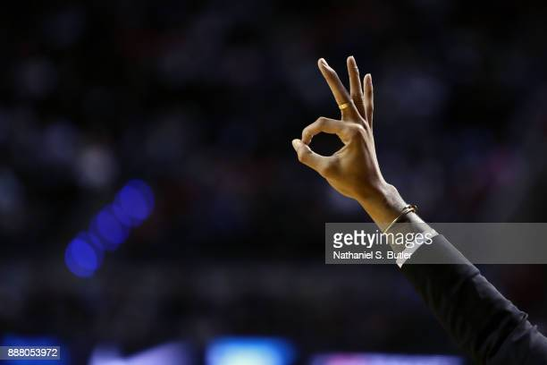 Angelo Russell of the Brooklyn Nets celebrates his teammate hitting a three pointer during the game against the Oklahoma City Thunder as part of the...