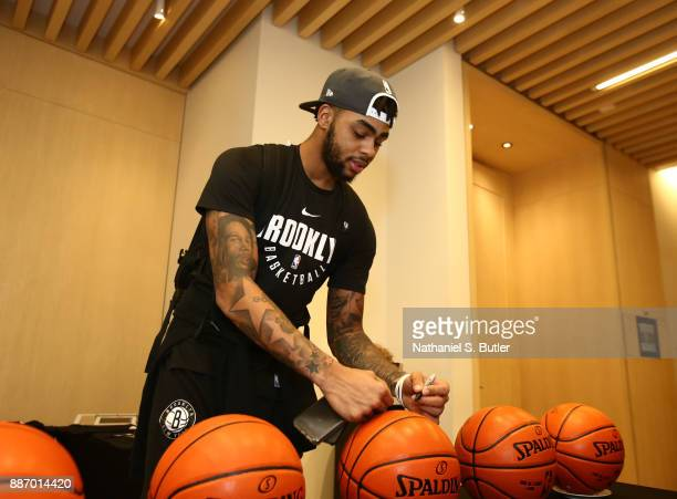 Angelo Russell of the Brooklyn Nets does ball signings as part of the NBA Mexico Games 2017 on December 6 2017 at the Hyatt Regency Hotel in Mexico...