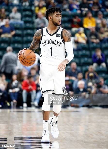 Angelo Russell of the Brooklyn Nets dribbles the ball against the Indiana Pacers at Bankers Life Fieldhouse on October 18 2017 in Indianapolis...