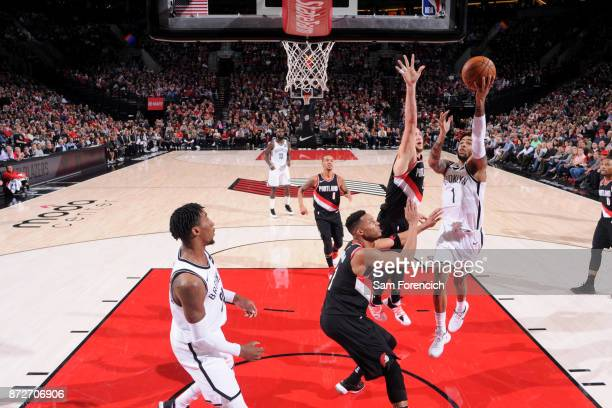 Angelo Russell of the Brooklyn Nets goes for a lay up against the Portland Trail Blazers on November 10 2017 at the Moda Center in Portland Oregon...