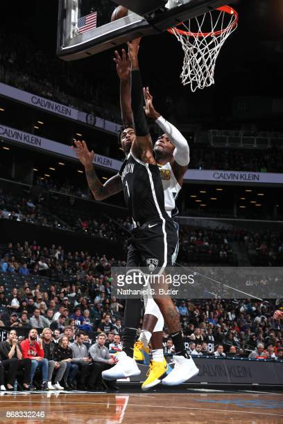 Angelo Russell of the Brooklyn Nets goes to the basket against the Denver Nuggets on October 29 2017 at Barclays Center in Brooklyn New York NOTE TO...