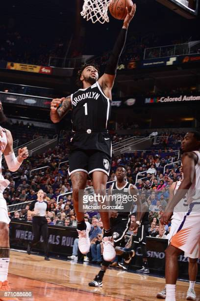 Angelo Russell of the Brooklyn Nets goes to the basket against the Phoenix Suns on November 6 2017 at Talking Stick Resort Arena in Phoenix Arizona...