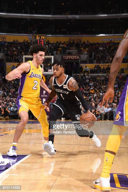 Angelo Russell of the Brooklyn Nets handles the ball against Lonzo Ball of the Los Angeles Lakers during the game between the two teams on November 3...