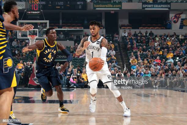 Angelo Russell of the Brooklyn Nets handles the ball against the Indiana Pacers on October 18 2017 at Bankers Life Fieldhouse in Indianapolis Indiana...
