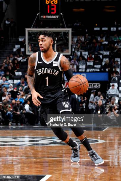 Angelo Russell of the Brooklyn Nets handles the ball against the Orlando Magic on October 20 2017 at Barclays Center in Brooklyn New York NOTE TO...