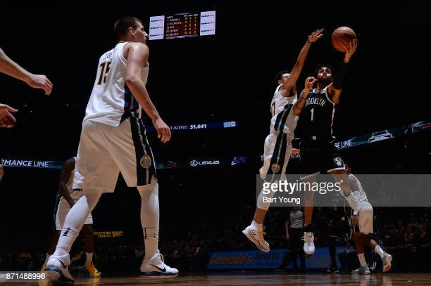 Angelo Russell of the Brooklyn Nets handles the ball against the Denver Nuggets on November 7 2017 at the Pepsi Center in Denver Colorado NOTE TO...
