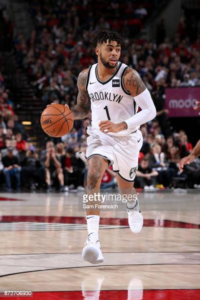 Angelo Russell of the Brooklyn Nets handles the ball against the Portland Trail Blazers on November 10 2017 at the Moda Center in Portland Oregon...