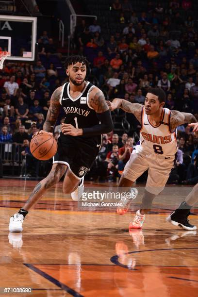 Angelo Russell of the Brooklyn Nets handles the ball against Tyler Ulis of the Phoenix Suns on November 6 2017 at Talking Stick Resort Arena in...