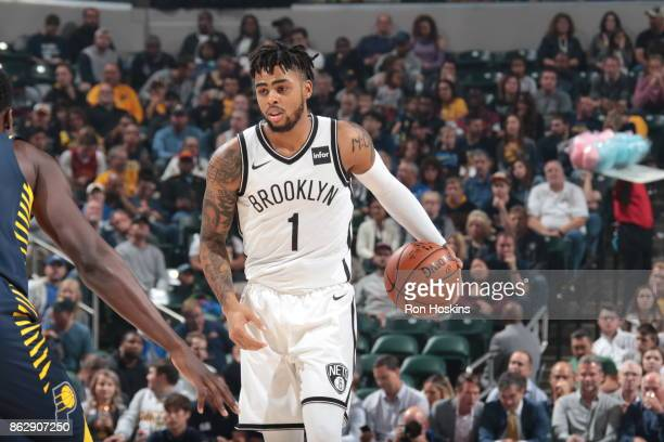 Angelo Russell of the Brooklyn Nets handles the ball during the season game against the Indiana Pacers on October 18 2017 at Bankers Life Fieldhouse...