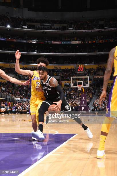 Angelo Russell of the Brooklyn Nets handles the ball during the game against the Los Angeles Lakers on November 3 2017 at STAPLES Center in Los...