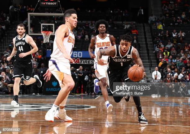 Angelo Russell of the Brooklyn Nets handles the ball during the game against the Phoenix Suns on October 31 2017 at Barclays Center in Brooklyn New...
