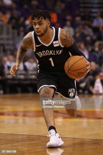 Angelo Russell of the Brooklyn Nets handles the ball during the second half of the NBA game against the Phoenix Suns at Talking Stick Resort Arena on...