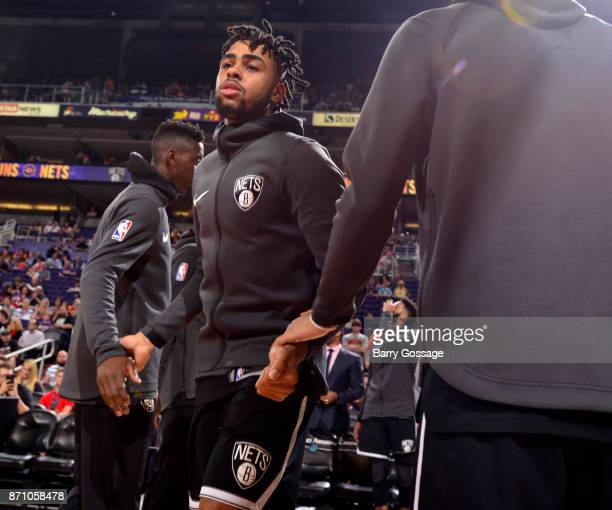 Angelo Russell of the Brooklyn Nets high fives fans before the game against the Phoenix Suns on November 6 2017 at Talking Stick Resort Arena in...