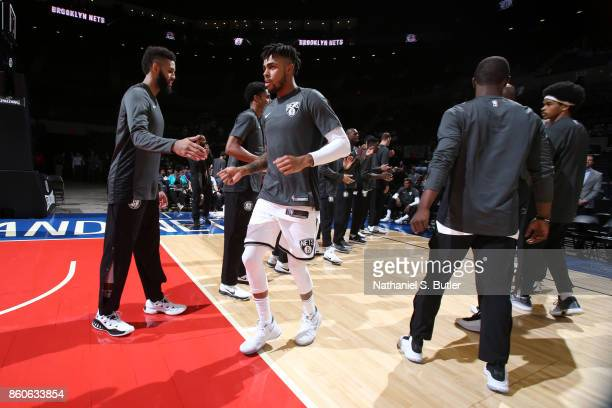 Angelo Russell of the Brooklyn Nets is introduced during the preseason game against the Philadelphia 76ers on October 11 2017 at Nassau Veterans...