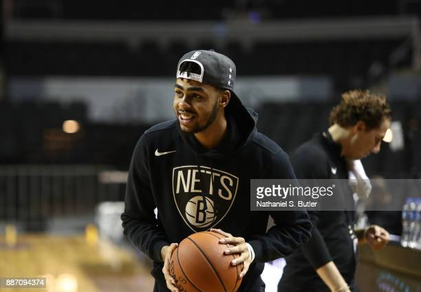 Angelo Russell of the Brooklyn Nets looks on during practice as part of the NBA Mexico Games 2017 on December 6 2017 at the Arena Ciudad de México in...
