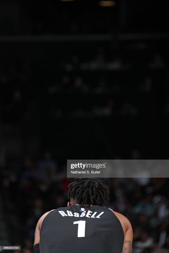 D'Angelo Russell #1 of the Brooklyn Nets looks on during the game against the Denver Nuggets on October 29, 2017 at Barclays Center in Brooklyn, New York.