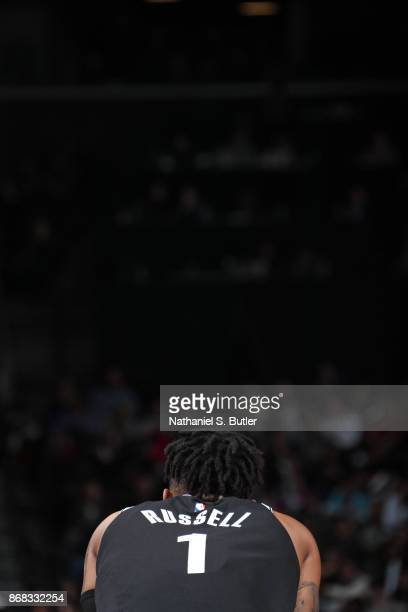 Angelo Russell of the Brooklyn Nets looks on during the game against the Denver Nuggets on October 29 2017 at Barclays Center in Brooklyn New York...