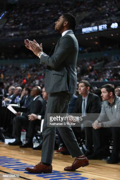 Angelo Russell of the Brooklyn Nets looks on during the game against the Miami Heat as part of the NBA Mexico Games 2017 on December 9 2017 at the...