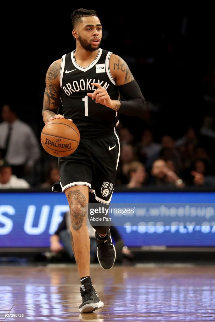 D'Angelo Russell #1 of the Brooklyn Nets makes his return against the Miami Heat after suffering a knee injury two months ago during their game at Barclays Center on January 19, 2018 in the Brooklyn borough of New York City.