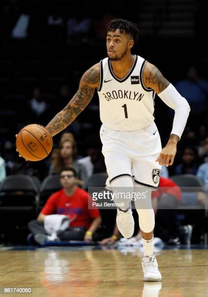 Angelo Russell of the Brooklyn Nets moves the ball up the court during a preseason NBA basketball game against the Philadelphia 76ers on October 11...