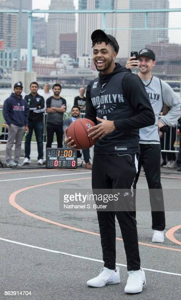 Angelo Russell of the Brooklyn Nets participates in the Practice in the Park on October 14 2017 at Brooklyn Bridge Park in Brooklyn New York NOTE TO...