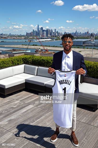 Angelo Russell of the Brooklyn Nets poses for a portrait after being introduced by the team on June 26 2017 at HSS Training Center in Brooklyn New...