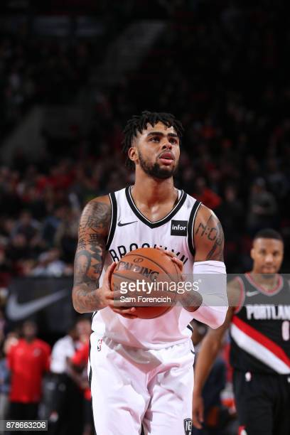 Angelo Russell of the Brooklyn Nets shoots a free throw against the Portland Trail Blazers on November 10 2017 at the Moda Center in Portland Oregon...