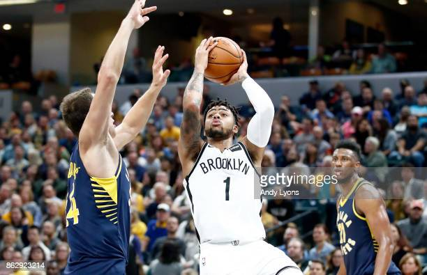 Angelo Russell of the Brooklyn Nets shoots the ball against the Indiana Pacers at Bankers Life Fieldhouse on October 18 2017 in Indianapolis Indiana...