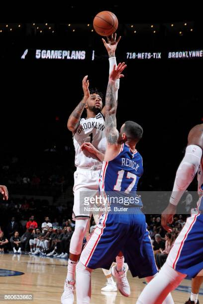 Angelo Russell of the Brooklyn Nets shoots the ball against the Philadelphia 76ers on October 11 2017 at Nassau Veterans Memorial Coliseum in...