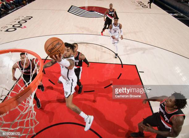 Angelo Russell of the Brooklyn Nets shoots the ball against the Portland Trail Blazers on November 10 2017 at the Moda Center Arena in Portland...
