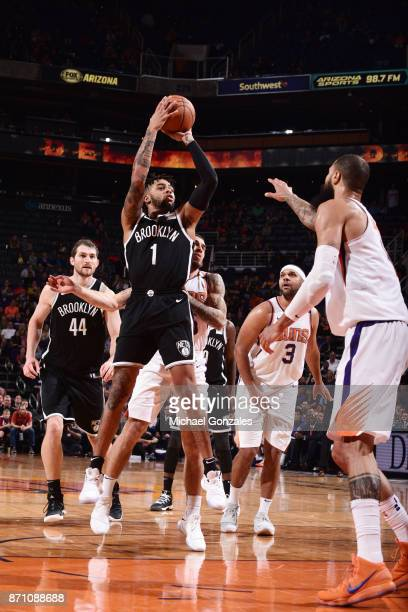 Angelo Russell of the Brooklyn Nets shoots the ball against the Phoenix Suns on November 6 2017 at Talking Stick Resort Arena in Phoenix Arizona NOTE...
