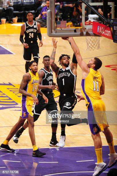 Angelo Russell of the Brooklyn Nets shoots the ball during the game against the Los Angeles Lakers on November 3 2017 at STAPLES Center in Los...
