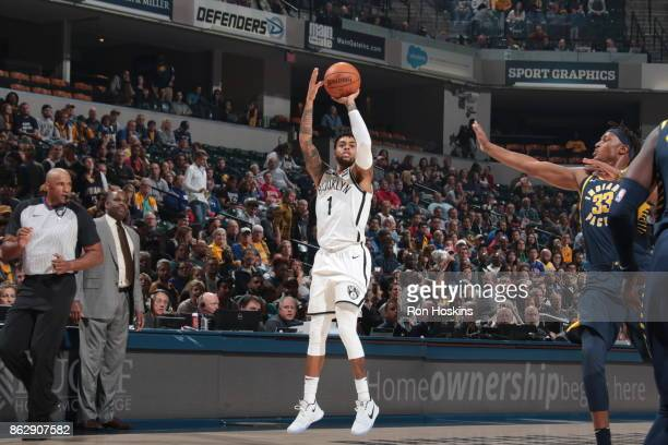 Angelo Russell of the Brooklyn Nets shoots the ball during the season game against the Indiana Pacers on October 18 2017 at Bankers Life Fieldhouse...
