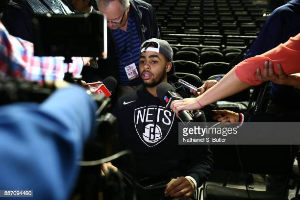 Angelo Russell of the Brooklyn Nets speaks to the media as part of the NBA Mexico Games 2017 on December 6 2017 at the Arena Ciudad de México in...