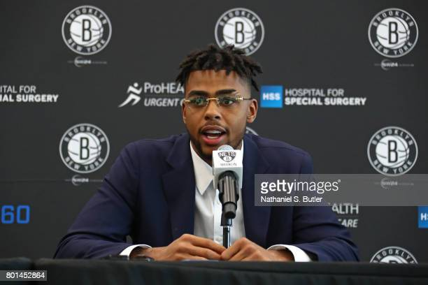 Angelo Russell of the Brooklyn Nets speaks to the media during his introductory press conference on June 26 2017 at HSS Training Center in Brooklyn...