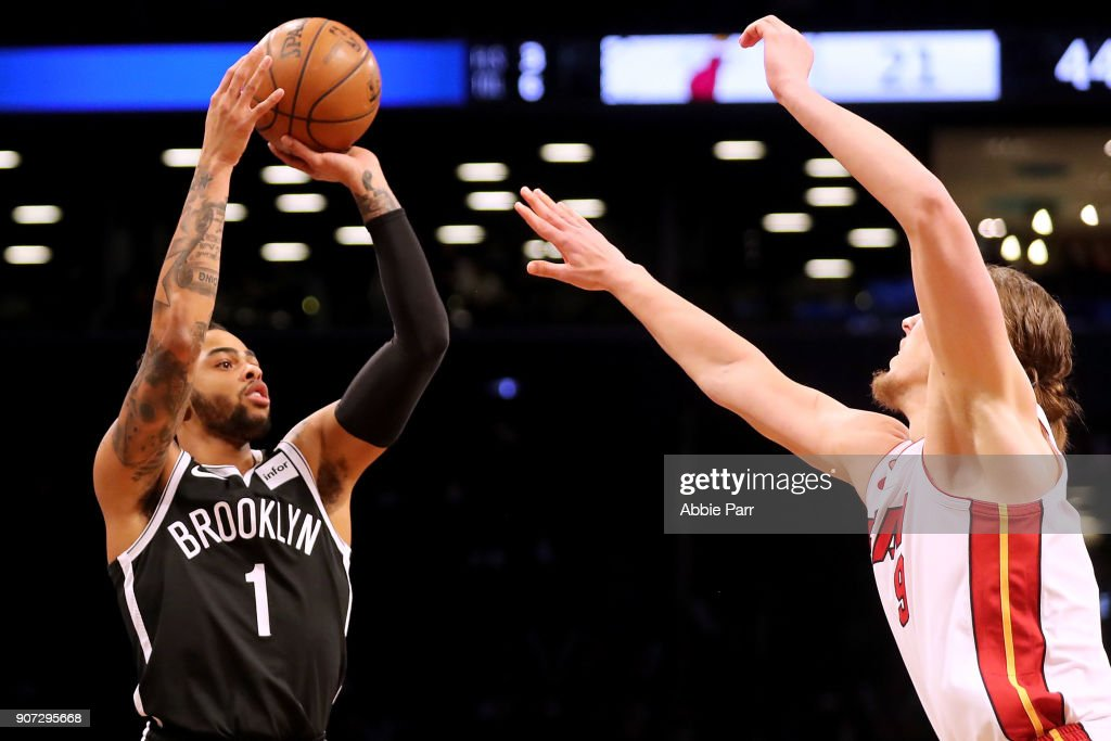 D'Angelo Russell #1 of the Brooklyn Nets takes a shot against Kelly Olynyk #9 of the Miami Heat after in the second quarter in his return after suffering a knee injury two months ago during their game at Barclays Center on January 19, 2018 in the Brooklyn borough of New York City.
