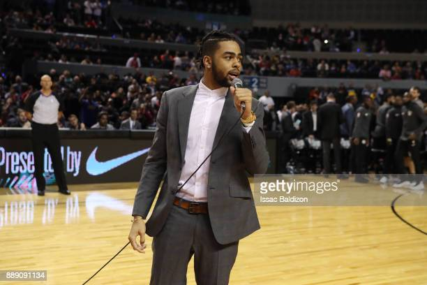 Angelo Russell of the Brooklyn Nets talks before the game against the Miami Heat as part of the NBA Mexico Games 2017 on December 9 2017 at the Arena...