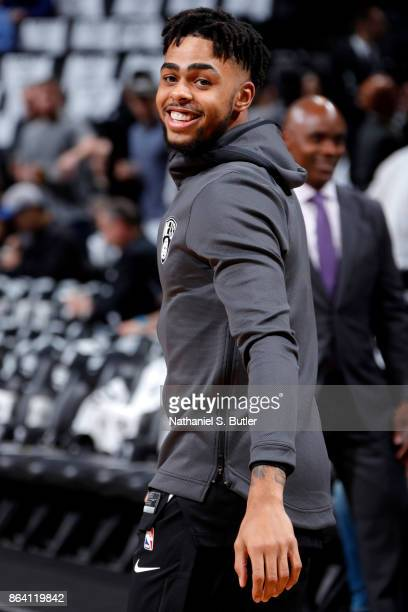 Angelo Russell of the Brooklyn Nets warms up before the game against the Orlando Magic on October 20 2017 at Barclays Center in Brooklyn New York...
