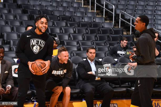 Angelo Russell of the Brooklyn Nets warms up prior to the game against the Los Angeles Lakers on November 3 2017 at STAPLES Center in Los Angeles...
