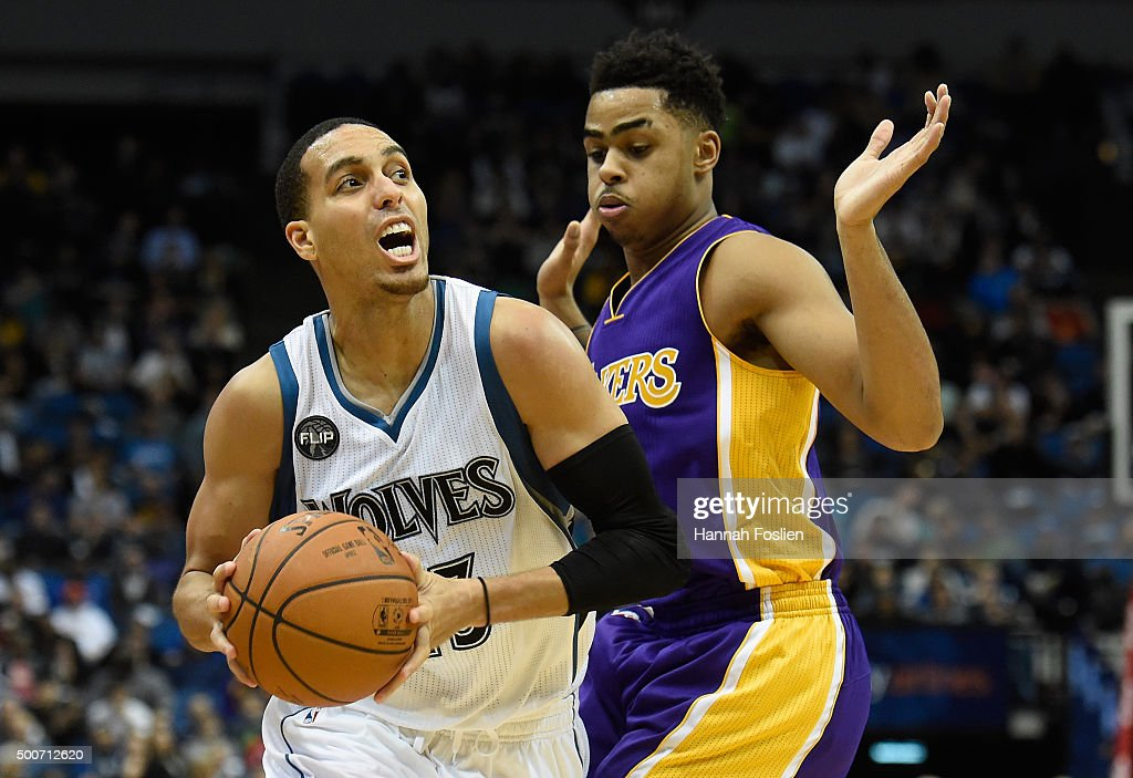 Angelo Russell of the Los Angeles Lakers defends against Kevin Martin of the Minnesota Timberwolves during the fourth quarter of the game on December...