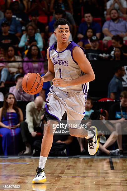 Angelo Russell of the Los Angeles Lakers drives to the basket against the Minnesota Timberwolves during NBA Summer League on July 10 2012 at the Cox...