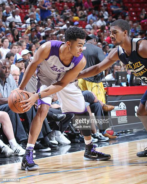 Angelo Russell of the Los Angeles Lakers handles the ball against the Utah Jazz on July 17 2015 at the Thomas Mack Center in Las Vegas Nevada NOTE TO...