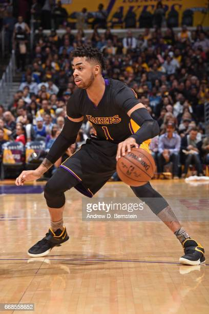 Angelo Russell of the Los Angeles Lakers handles the ball during the game against the Minnesota Timberwolves on March 24 2017 at STAPLES Center in...