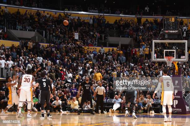 Angelo Russell of the Los Angeles Lakers hits the game winning shot against the Minnesota Timberwolves on April 9 2017 at STAPLES Center in Los...