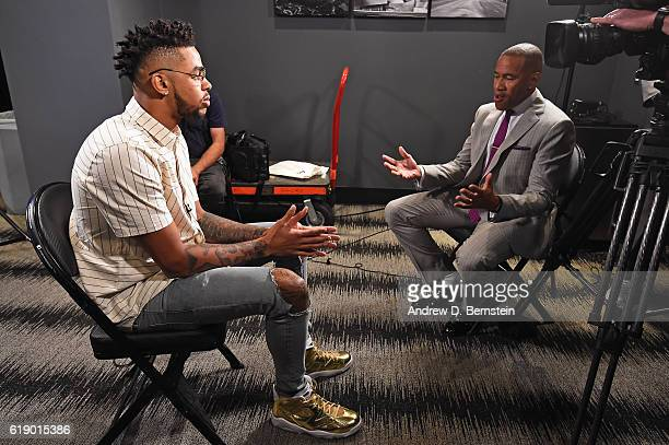 Angelo Russell of the Los Angeles Lakers is interviewed by ESPN NBA Analyst Mark Jones before the game against the Houston Rockets on October 26 2016...