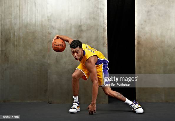 Angelo Russell of the Los Angeles Lakers poses for a portrait during the 2015 NBA rookie photo shoot on August 8 2015 at the Madison Square Garden...